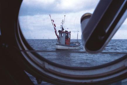 Approaching the fishing boat 'Barbara', Neustadt Bay, Germany.