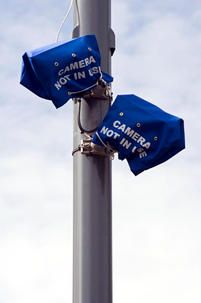 Bagged up ANPR surveillance cameras installed to monitor cars entering and leaving Birmingham areas with a high Muslim population. Moseley, Birmingham.