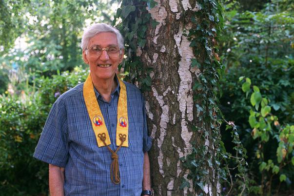Urgyen Sangharakshita, Founder of the Triratna Buddhist Order, 2003, Padmaloka Retreat Centre.