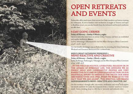 Padmaloka Retreat Centre Programme, 2020, spread.