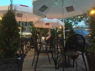 Outdoor tables in season