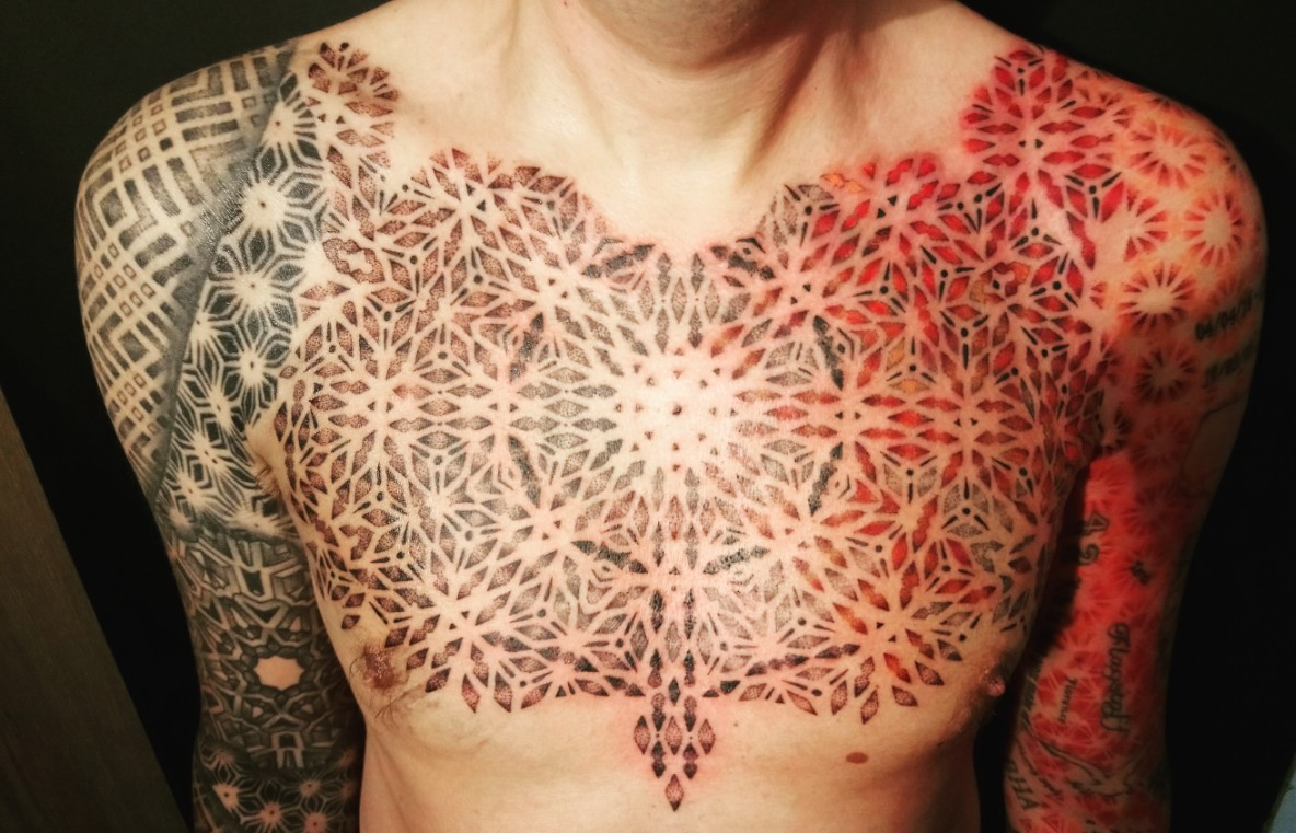 Mandala geometric chest piece