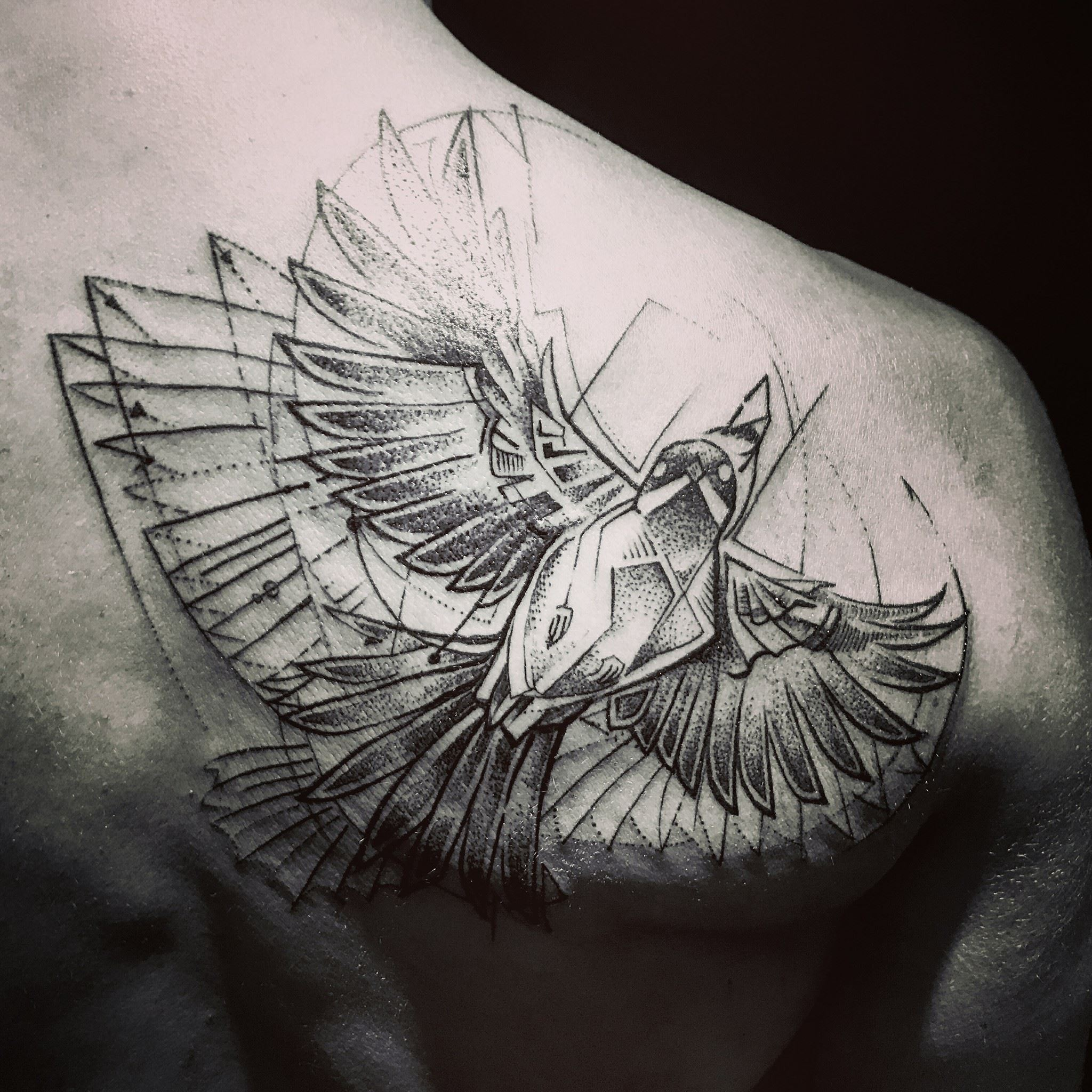 Abstract bird sketch tattoo