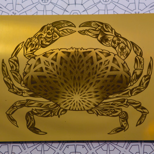 """Mandala Crab"" Geometric Mirror"