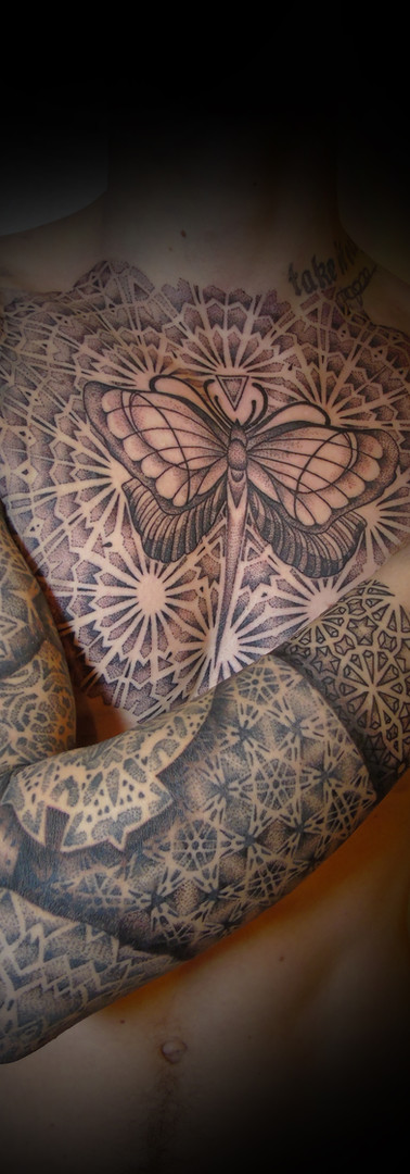 chest and arm mandala dotwork