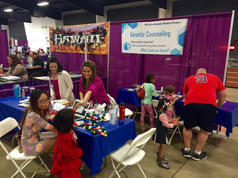 Teaching about Genetic Counseling at a kids expo.