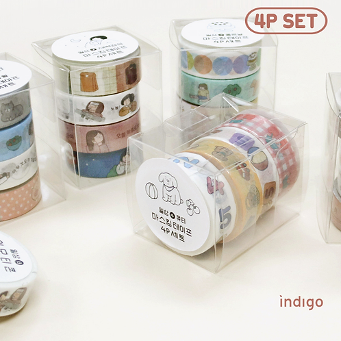 「INDIGO」日常マスキングテープ4P SET