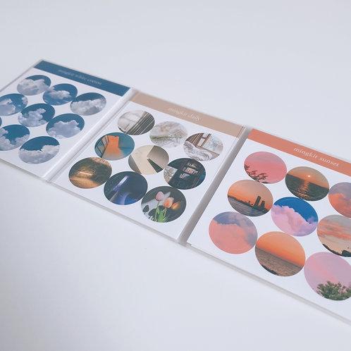 「MINGKIT」ミニ円形ステッカー3種セット