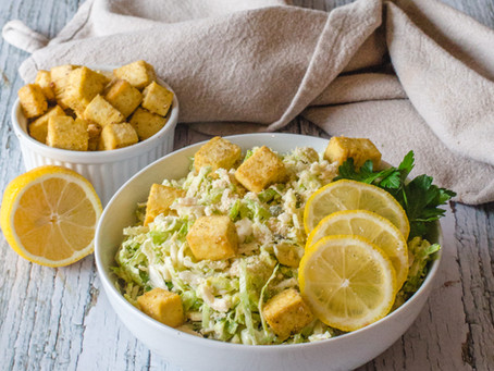 Tofu with Brussels Sprouts Caesar Salad