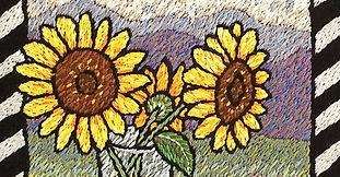 Embroidery, sunflowers, Laura Gaskin