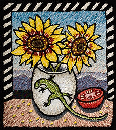 Sunflowers and Lizard