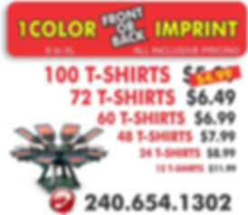 screen printed t-shirt prices   Signs in Rockville