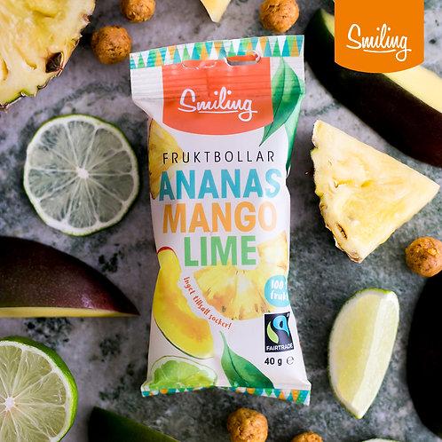 Fruktbollar Ananas/mango/lime Hel låda  (10 st)