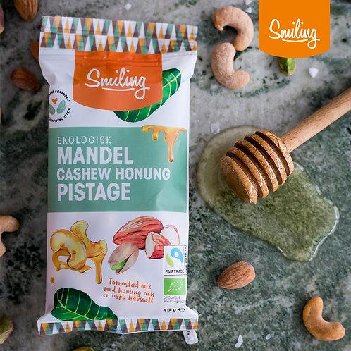 Mandel/Cashew honung/Pistage - Hel låda (20 påsar)