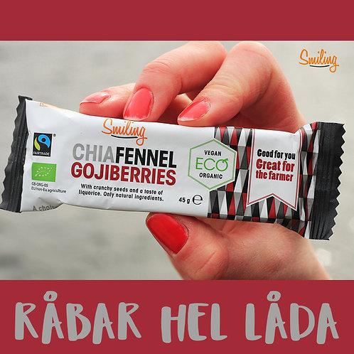 Råbar Chia/fennel/Goji hel låda (20 st)