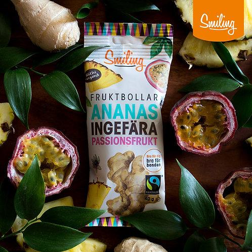 Fruktbollar Ananas/ingefära Hel låda (10 st)