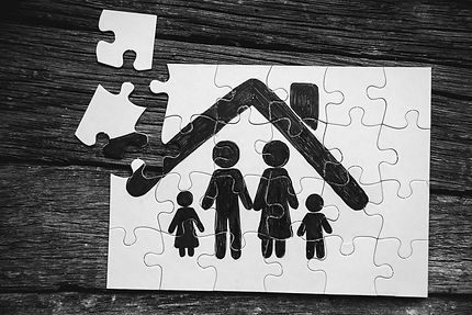 Family concept, puzzle. Father, mother,