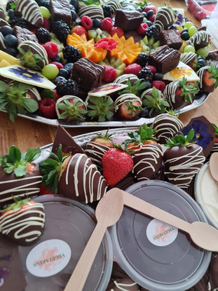 fruit platter with chocolate dipped stra