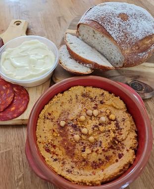 homemade hummus & homemade Ailioi.jpg