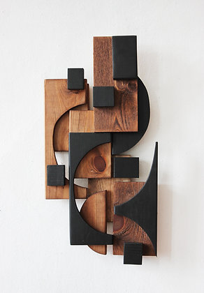 Fragments of black on wood, 48x25cm