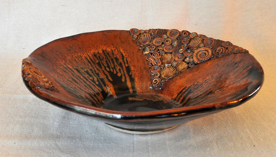 Seashore Bowl - tenmoku with gold - SOLD