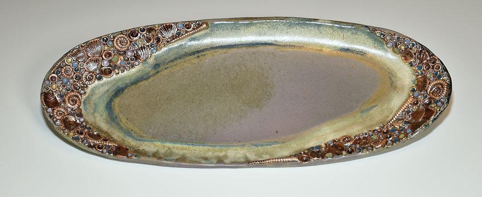 Seashore Platter - matte blue-grey