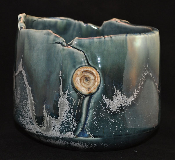 Planter - gray-blue with opal - SOLD