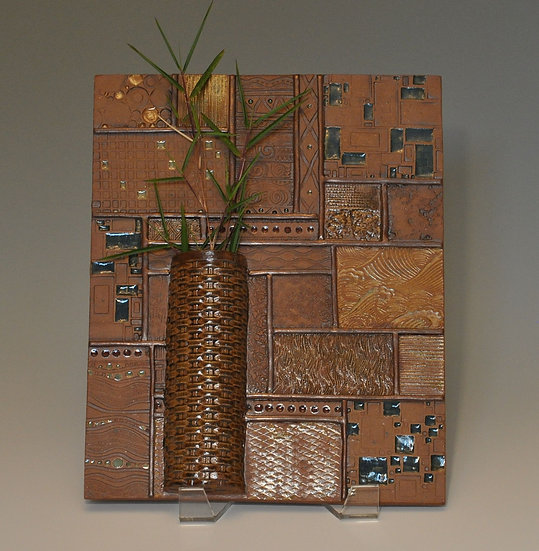 Ordered Earth Wall Tile - long vase     SOLD