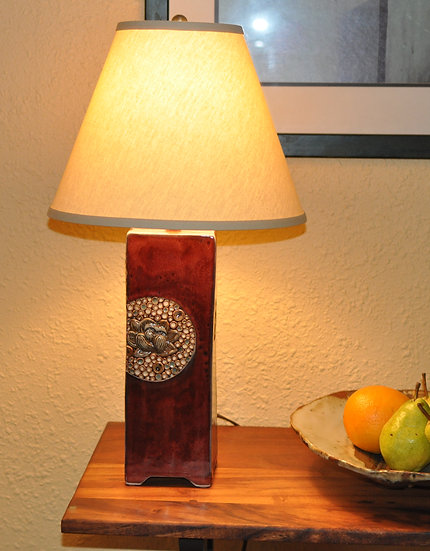 Red Lamp - with cream shade       SOLD