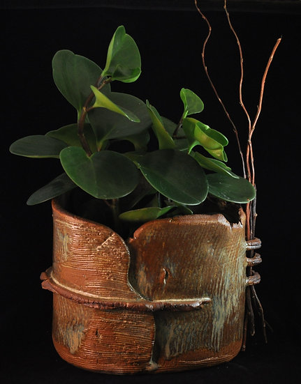 Planter - stoneware with branches - SOLD