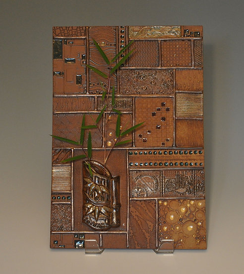 Ordered Earth Wall Tile - bamboo holder - SOLD