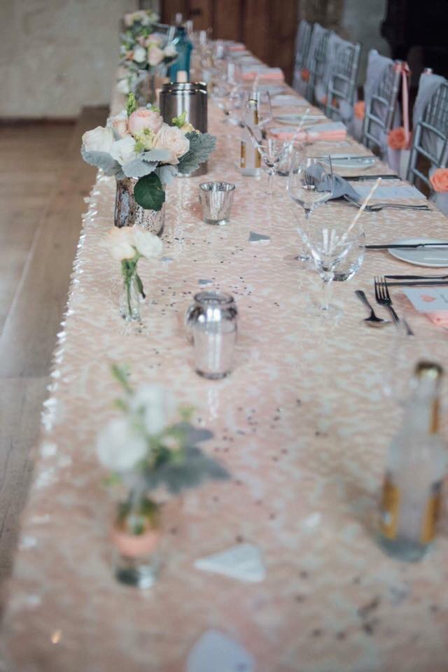 Blush/Peach sequin top table cloth