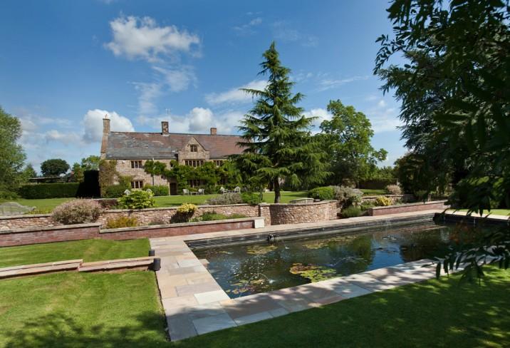 wedding venues devon the manor outside pond.jpg