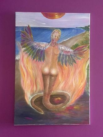 Quetzacoatl Femme-oiseau envol Plage Feu
