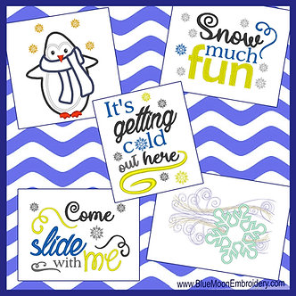 Cold Penguin Collection - Set of 5 Designs - 2 Applique, 3 Sayings 5x7