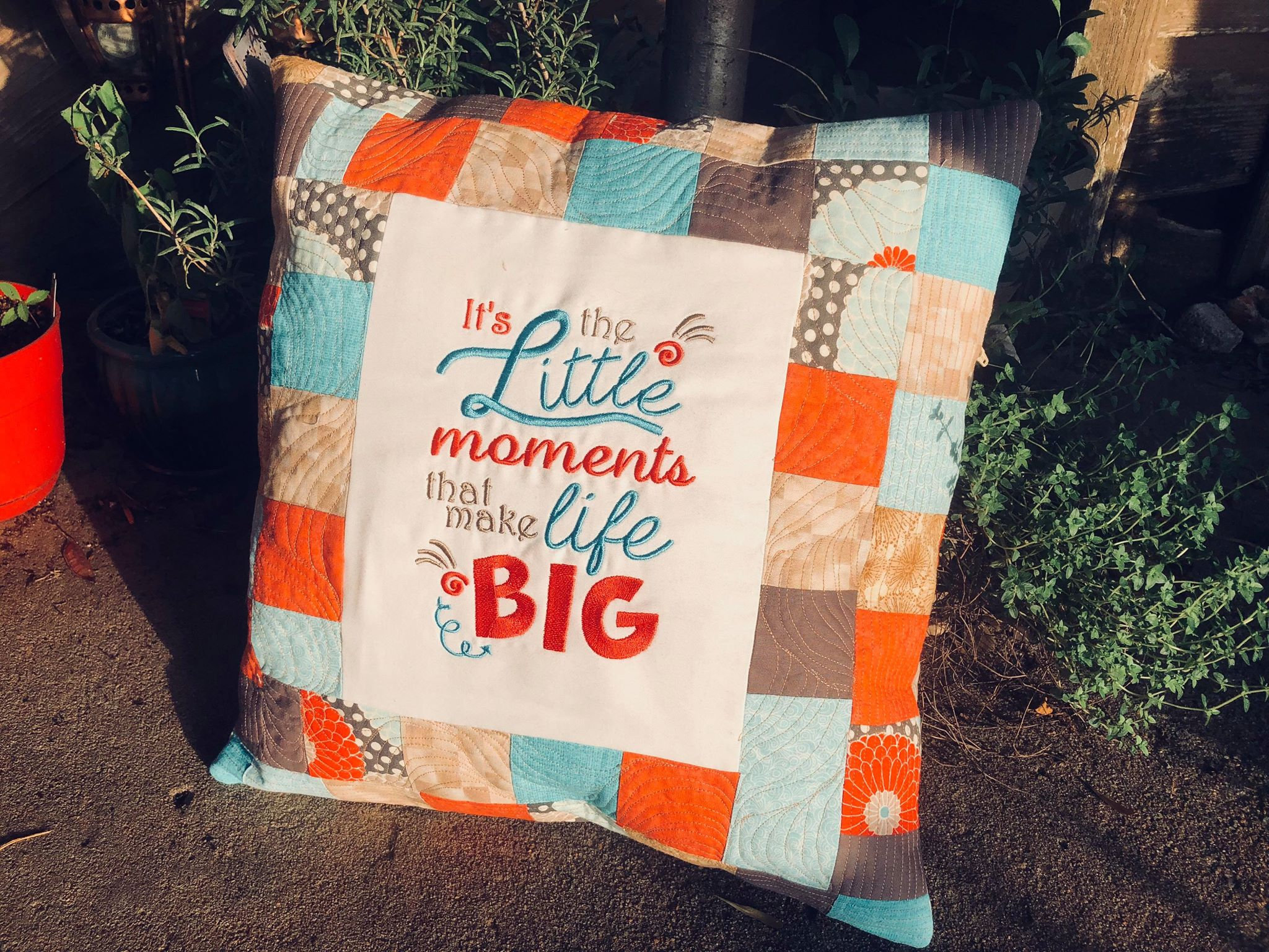 It's the little moments that make life big - reading pillow saying 5x7