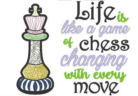 Chess King Doodle Design and Saying - set of 2 - 5x7