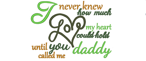 Daddy Saying Embroidery Design, Daddy Son Saying Embroidery 5x7 6x10