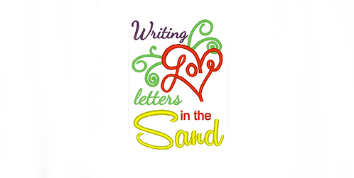 Writing Love Letters in the Sand - reading pillow saying 5x7