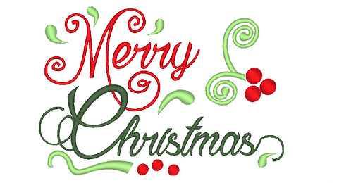 Merry Christmas, Merry Xmas Embroidery File, Christmas Embroidery 5x7