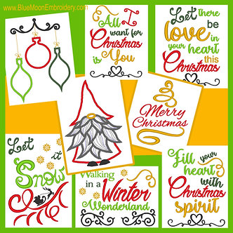 The Christmas Collection - Set of 8 Designs - 2 Applique, 6 Sayings 5x7