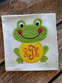 Frog Applique, Frog Monogram Frame Applique 5x7