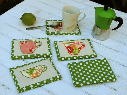 ITH Mug Rugs - all done in the Hoop, Set of 3 different mug designs