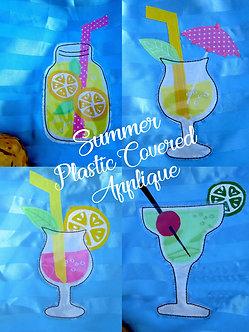 Set of 4 Designs - Plastic covered Summer Glasses Raw Edge Applique 5x7
