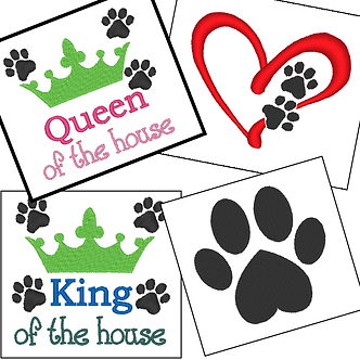 Set of 4 Dog Paws Embroidery Designs, for Dog Lovers 4x4