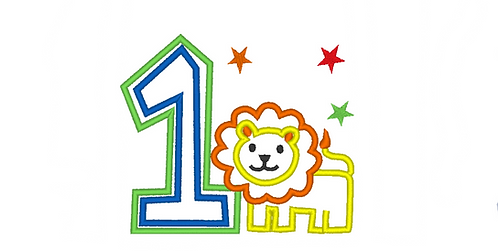 Baby Lion Applique for First Birthday, 1st Birthday Tshirt Embroidery Design