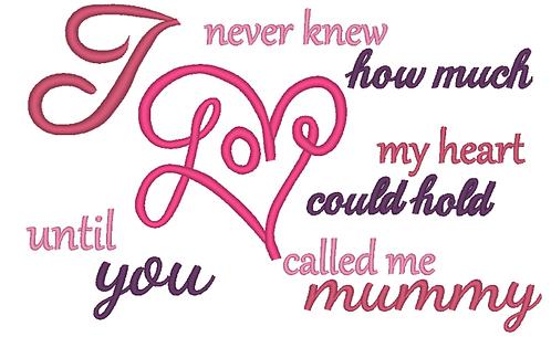 Mummy Saying Embroidery Design, Mummy Son Saying Embroidery, Mother Embroidery D
