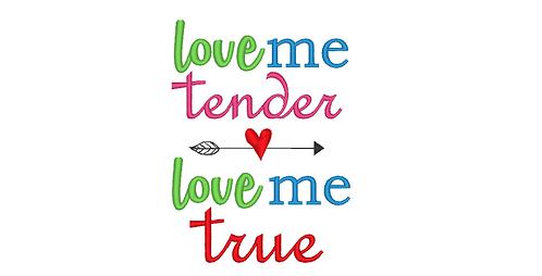 Love Me Tender, Love Me True - reading pillow saying 5x7