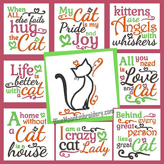 The Complete Cat Collection - Set of 9 Designs - 8 Sayings and 1 Applique 5x7