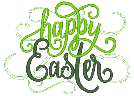 Happy Easter Embroidery File, Happy Easter Swirls, 5x7  6x10